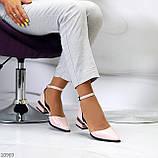 Туфли женские розовые с ремешком эко-лак на маленьком каблуке 4 см, фото 9