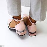 Туфли женские розовые с ремешком эко-лак на маленьком каблуке 4 см, фото 10