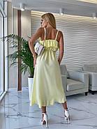 Повітряне жіноче плаття завдовжки міді, з імітацією запаху внизу, на тонких бретелях, фото 2
