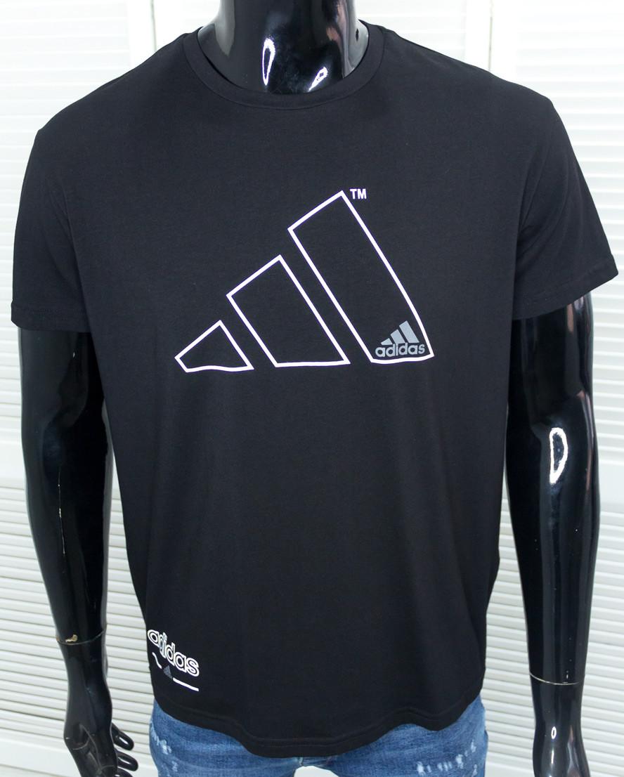 Футболка брендовая мужская Adidas черная спортивная Хлопковая с принтом