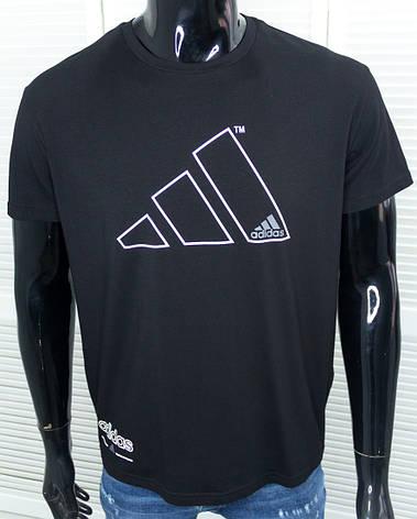 Футболка брендовая мужская Adidas черная спортивная Хлопковая с принтом, фото 2