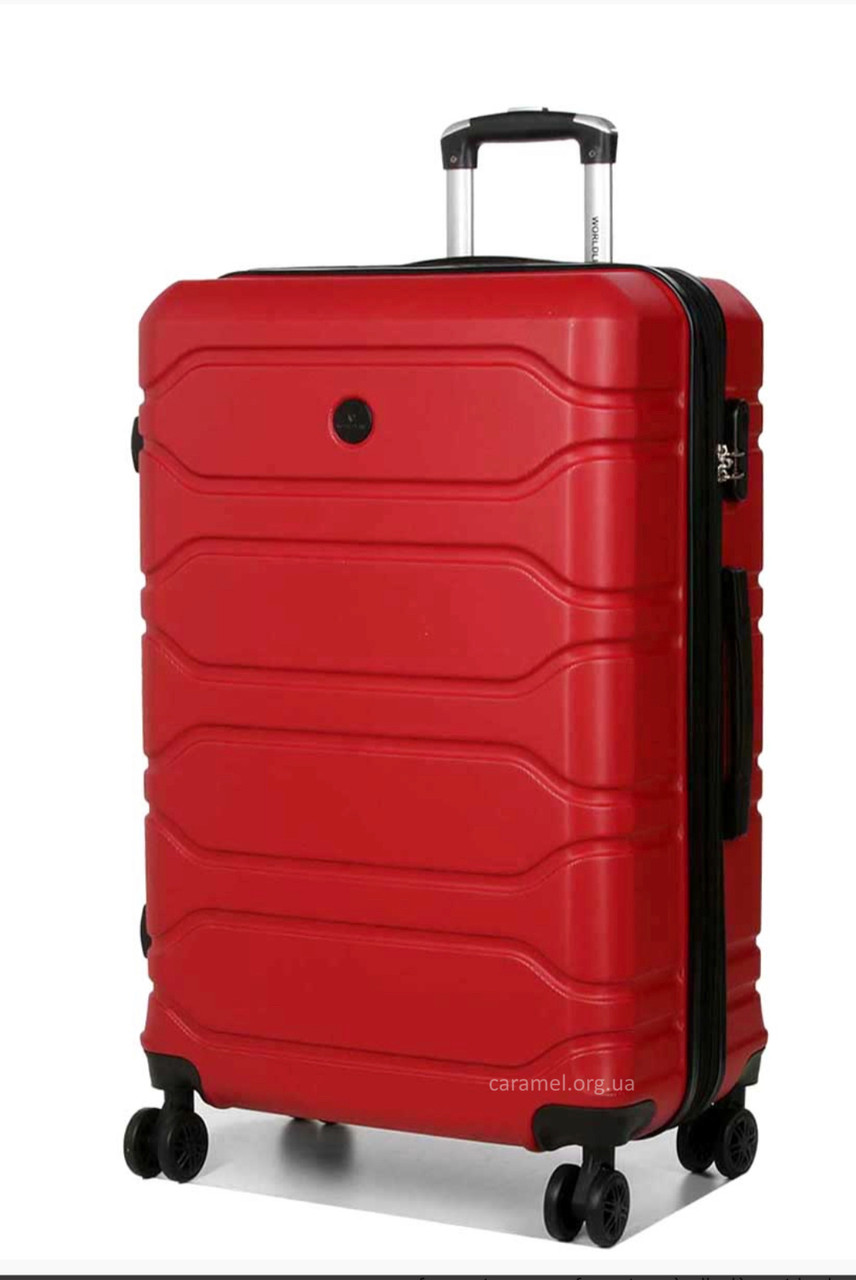 Валіза з полікарбонату на 4х колесах велика L червона | 76х49х29 см | 4.200 кг | 90 л | AIRTEX 613