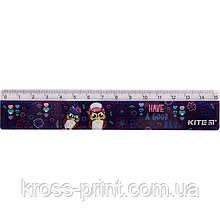 Лінійка пластикова Kite Owls К19-090-3, 15 см