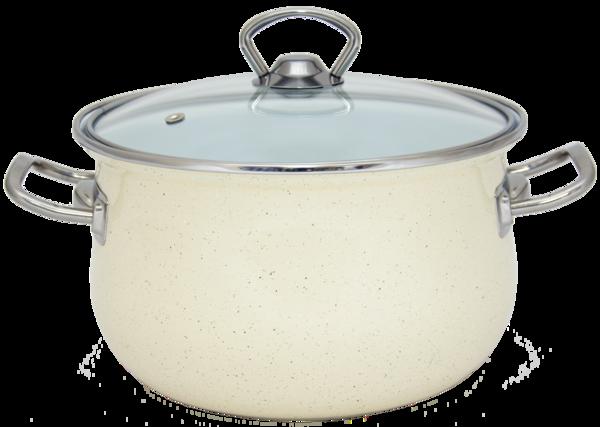Каструля Savasan Infinity Cream циліндрична з н/ж окантовкою і скляної крышк 2,1 л d16 см емалированая сталь