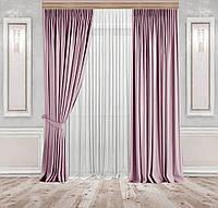 Комплект штор Lux Дeкорин Бархатный-Велюр Розовый 2 шт. Тюль Креп-Lux белый 1 шт, фото 1