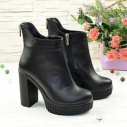 Ботинки черные кожаные женские на высоком каблуке