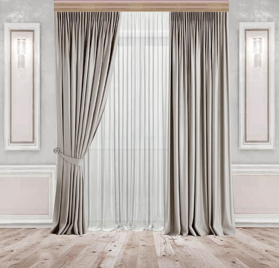 Комплект штор Lux Дeкорин Бархатный-Велюр Серо-бежевый 2 шт. Тюль Креп-Lux белый 1 шт