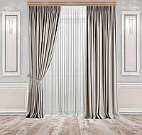 Комплект штор Lux Дeкорин Бархатный-Велюр Серо-бежевый 2 шт. Тюль Креп-Lux белый 1 шт, фото 1