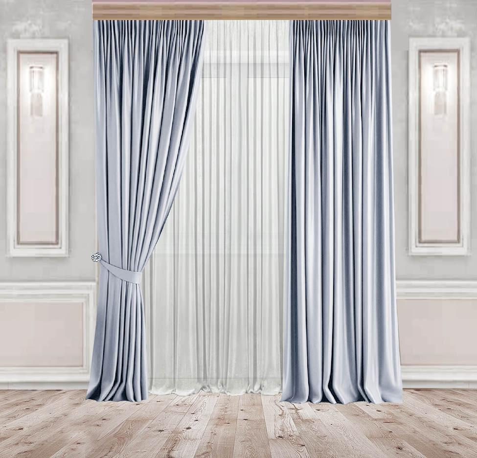 Комплект штор Lux Дeкорин Бархатный-Велюр Серо-голубой 2 шт. Тюль Креп-Lux белый 1 шт
