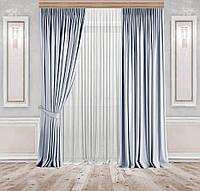 Комплект штор Lux Дeкорин Бархатный-Велюр Серо-голубой 2 шт. Тюль Креп-Lux белый 1 шт, фото 1
