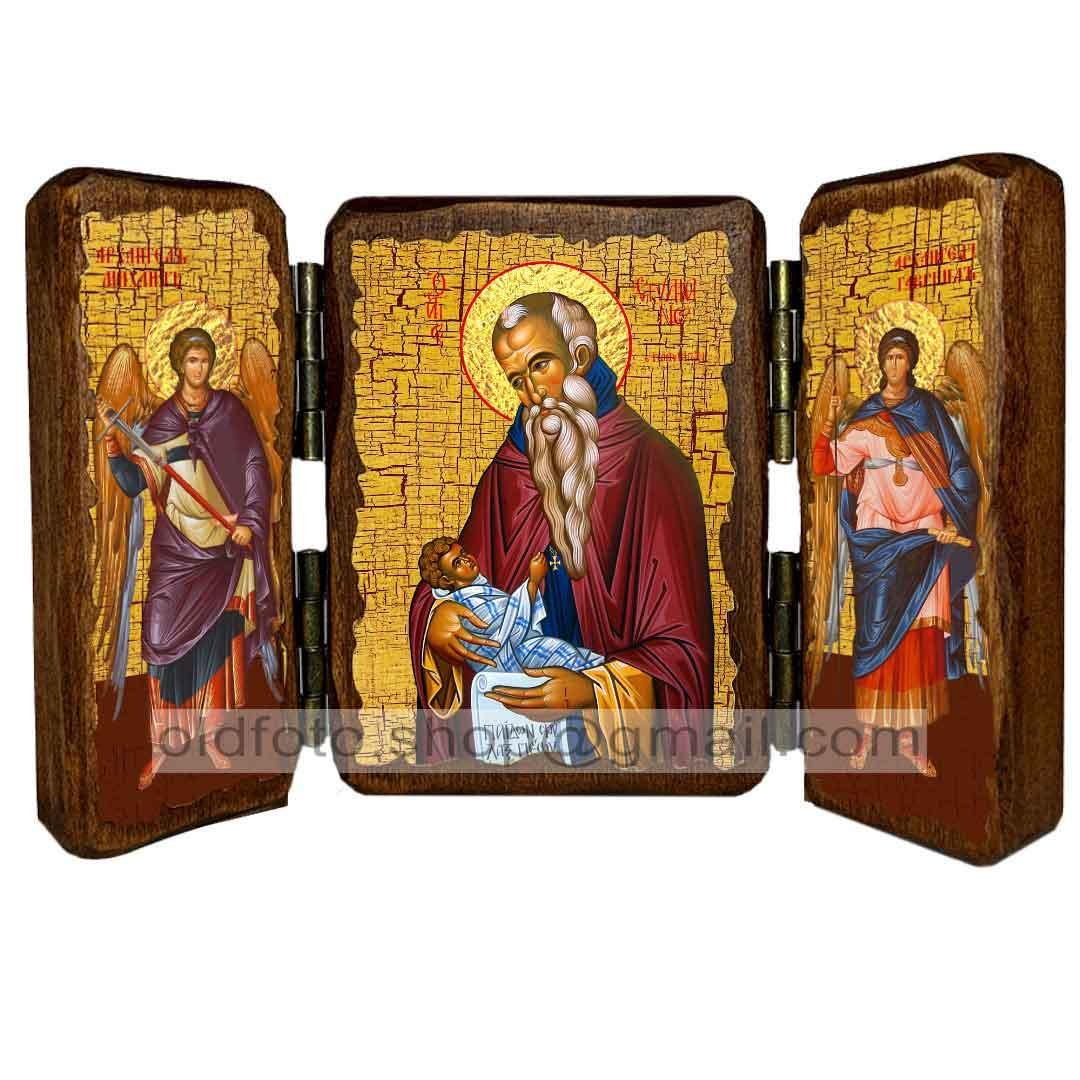 Ікона Стилиан Пафлагонський Преподобний ,ікона на дереві 130х170 мм