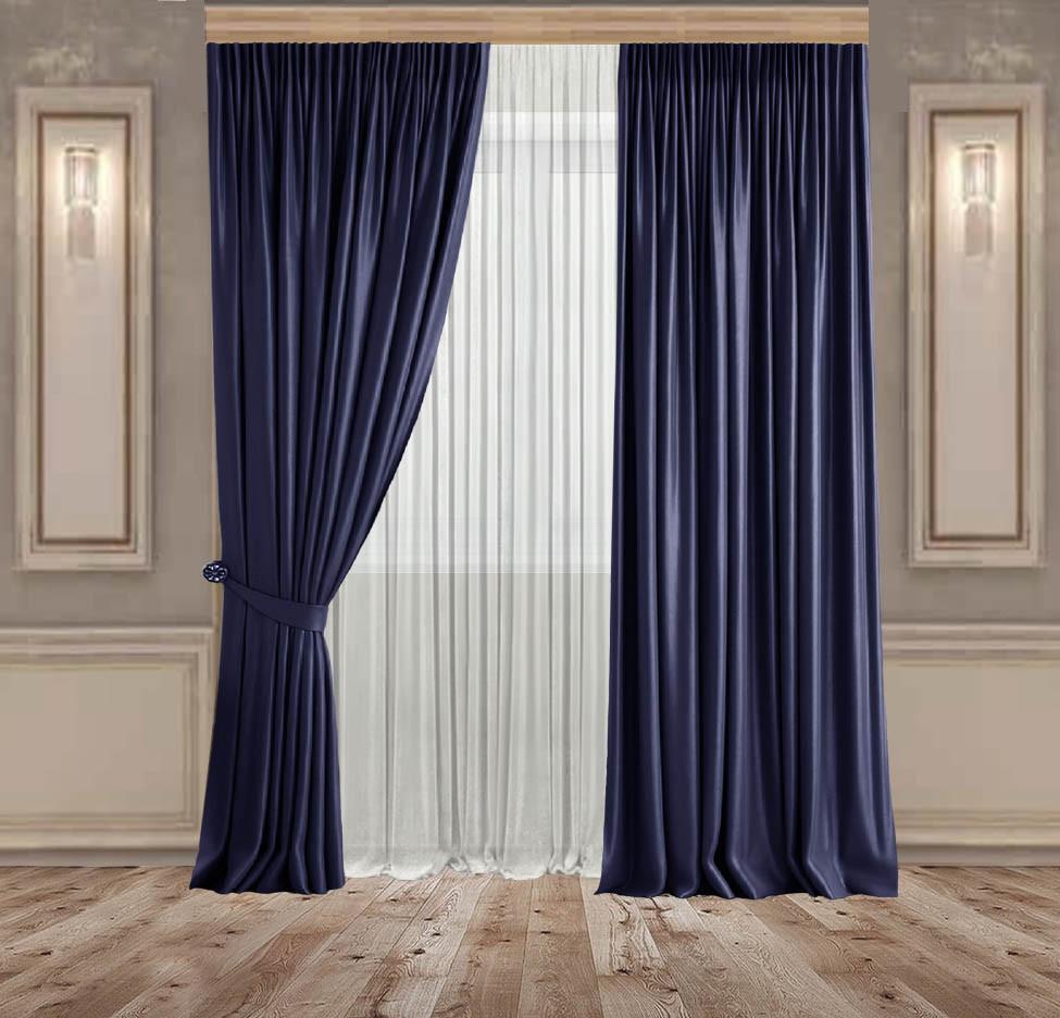Комплект штор Lux Дeкорин Бархатный-Велюр Темно-синий 2 шт. Тюль Креп-Lux белый 1 шт