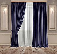 Комплект штор Lux Дeкорин Бархатный-Велюр Темно-синий 2 шт. Тюль Креп-Lux белый 1 шт, фото 1