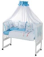 Дитяча постіль Babyroom Bortiki Print-08 blue train