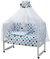Дитяча постіль Babyroom Classic Bortiki-01 (8 елементів) білий (баранці, зірочки)