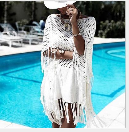 Пляжна біла накидка туніка сумки з бахромою на купальник