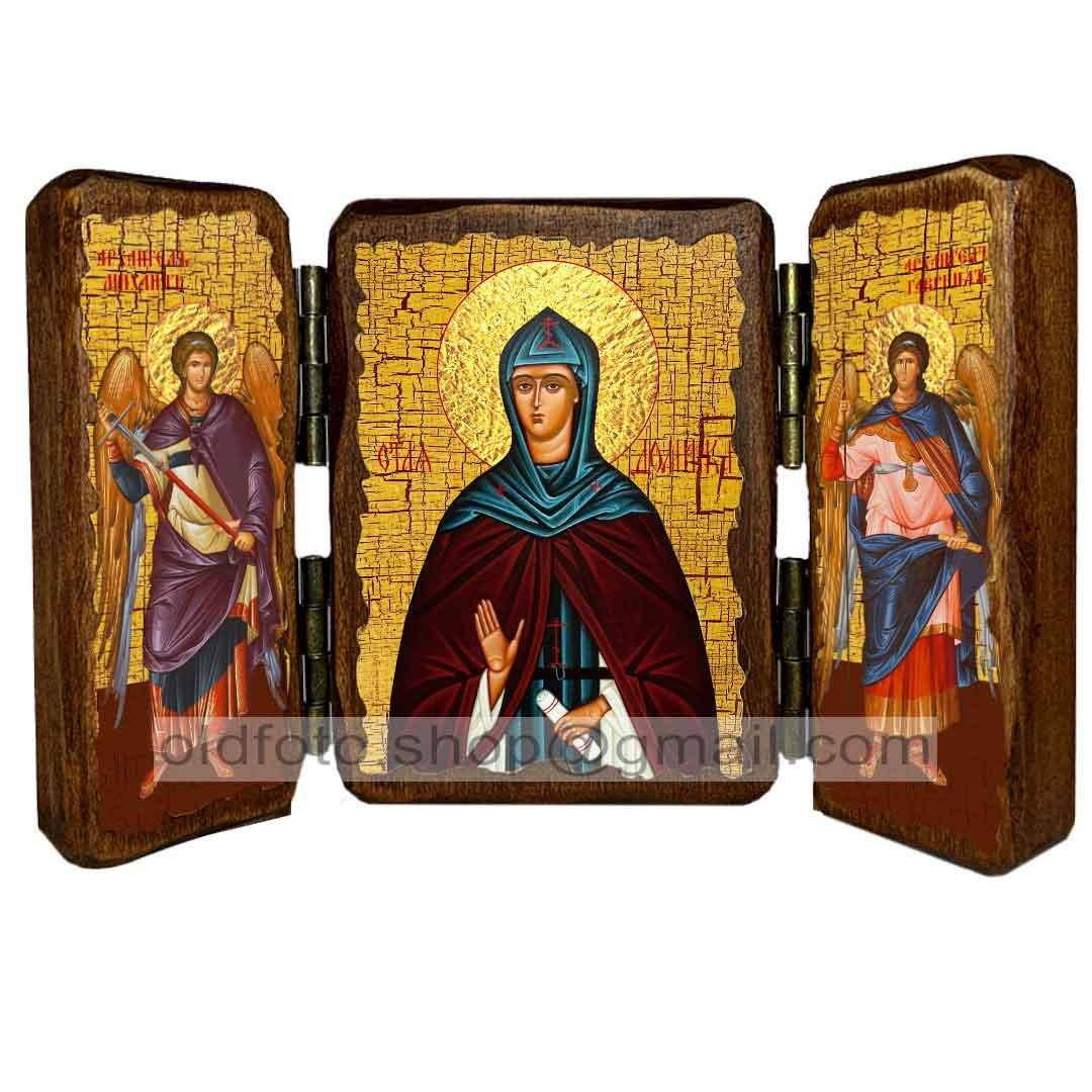 Икона Домника Константинопольская Преподобная ,икона на дереве 260х170 мм