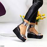 Босоніжки жіночі нікель - темне срібло натуральна шкіра на танкетці / платформі 9,5 см, фото 6