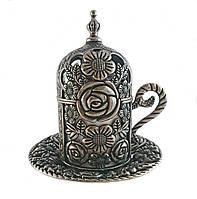 Турецкая чашка Демитассе для кофе 60 мл, цвет: состаренное серебро