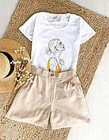 Комплект жіночий (шорти й футболка) з модним принтом. Жіночий літній костюм з принтом (футболка + шорти)., фото 1