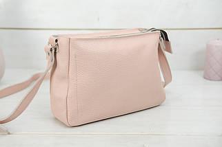 Сумка жіноча, Шкіряна сумочка Надія, Шкіра Флотар, колір Пудра, фото 2