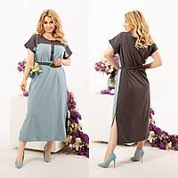 Комбинированное платье миди с поясом с  кнопками на груди, фото 1