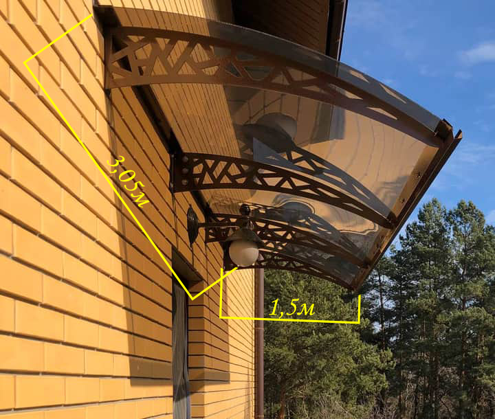 Готовий збірний дашок  3,05х1,5 м Хайтек монолітний полікарбонатом 4 мм
