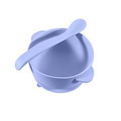 Силіконова тарілка CUMEENSS AI-114 Blue на присосці з ложкою для дітей дитячий посуд