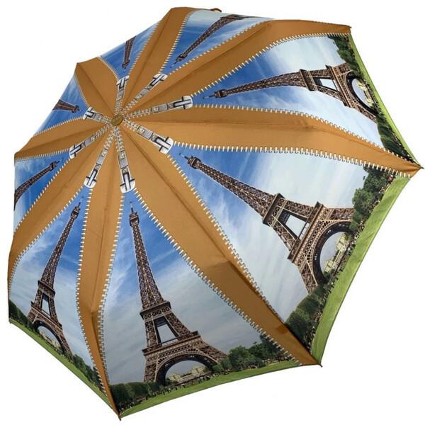 Женский зонтик красивый облегченный складной полуавтомат с Эйфелевой башней Max прочный купол (314-2)