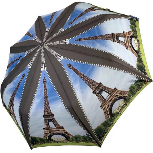 Зонт жіночий складаний напівавтомат легкий красивий з Ейфелевою вежею Max міцний купол 100 см (314-1)