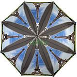 Зонт жіночий складаний напівавтомат легкий красивий з Ейфелевою вежею Max міцний купол 100 см (314-1), фото 3