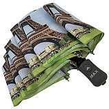 Зонт жіночий складаний напівавтомат легкий красивий з Ейфелевою вежею Max міцний купол 100 см (314-1), фото 5