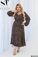 Нарядное женское платье с длинными рукавами и стильным принтом с 50 по 54 размер, фото 3