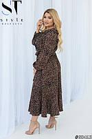 Нарядное женское платье с длинными рукавами и стильным принтом с 50 по 54 размер, фото 4
