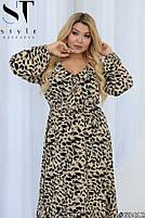 Нарядное женское платье с длинными рукавами и стильным принтом с 50 по 54 размер, фото 5