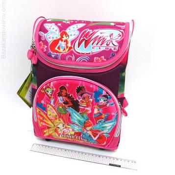 """Рюкзак коробка для дівчинки """"WinX"""" Вінкс 35х25х13см Ортопедична спинка, світловідбиваючі елементи"""