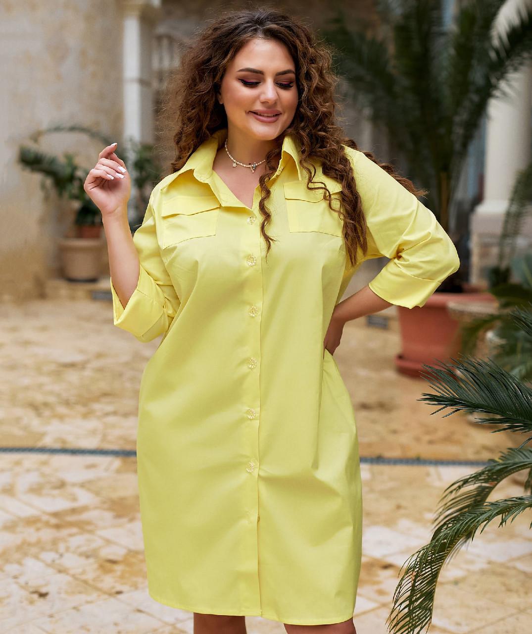 Літнє лляне плаття-сорочка для повних жінок