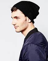 Черная вязаная шапка (удлиненный крой)