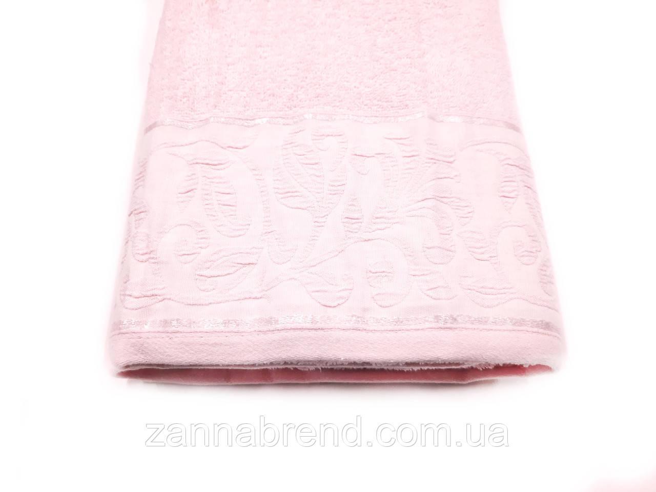 """Полотенце сауна махровое  100*150 см цвет бледно-розовый  """"Цветение"""""""