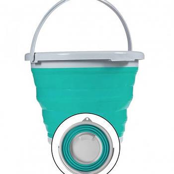 Складное відро Silicon Bucket 5л Бірюзове