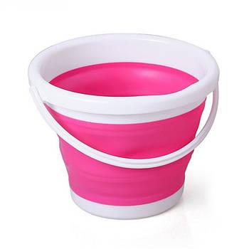 Складное ведро Silicon Bucket 5л Розовое