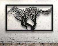 Декоративное панно Лиса из ветвей, декоративное панно из дерева, объемная картина, настенное панно