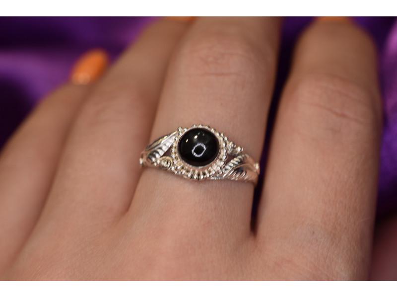 Серебряное кольцо со  Звездчатым Сапфиром   925 проба