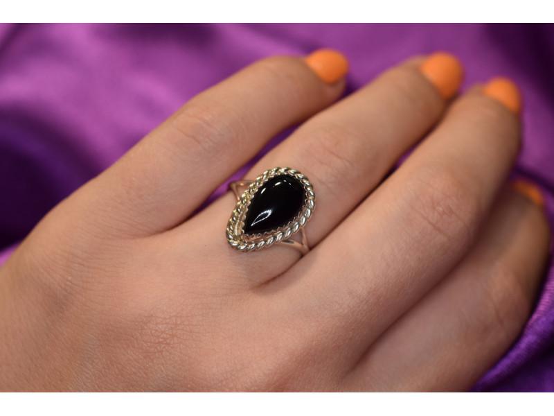 Винтажное Серебряное кольцо с  Черным Нефритом