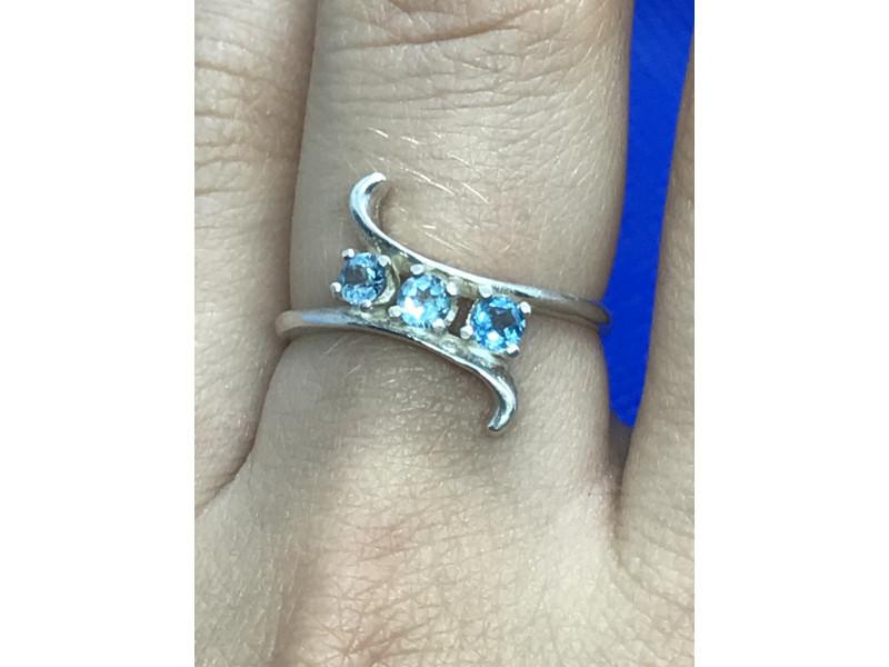 Sterling Silver кольцо с голубой Шпинелью