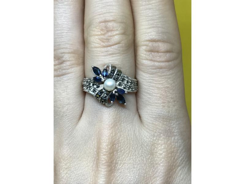 Серебряное кольцо Sterling с жемчугом и камнями Шпинель