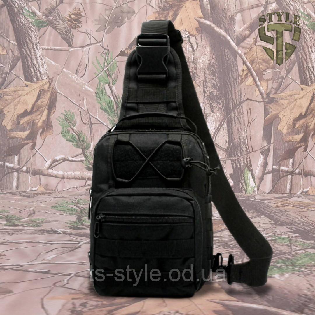 Однолямочний тактичний рюкзак Silver Knight на 8 літрів з системою M.O.L.L.E чорний
