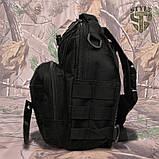 Однолямочний тактичний рюкзак Silver Knight на 8 літрів з системою M.O.L.L.E чорний, фото 3