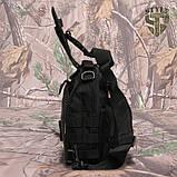 Однолямочний тактичний рюкзак Silver Knight на 8 літрів з системою M.O.L.L.E чорний, фото 2