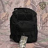 Однолямочний тактичний рюкзак Silver Knight на 8 літрів з системою M.O.L.L.E чорний, фото 4